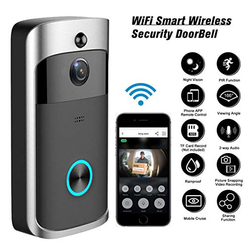 USDREAM Smart Wireless 720P HD Camera Home WiFi Security Doorbell WI-FI Real-Time Phone Video Door Bell with Two-Way Talks, Day/Night Vision, PIR Motion Detection for Indoor and Outdoor
