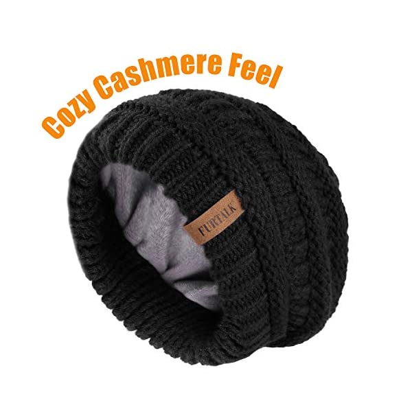 FURTALK Knit Beanie Hats for Women Men Fleece Lined Ski Skull Cap Slouchy Winter Hat