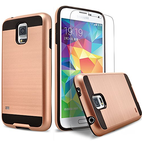 Galaxy S5 Case, 2-Piece Style Hybrid Shockproof Hard Case Cover + Circle(TM) Stylus Touch Screen Pen And Screen Protector - Rose Gold