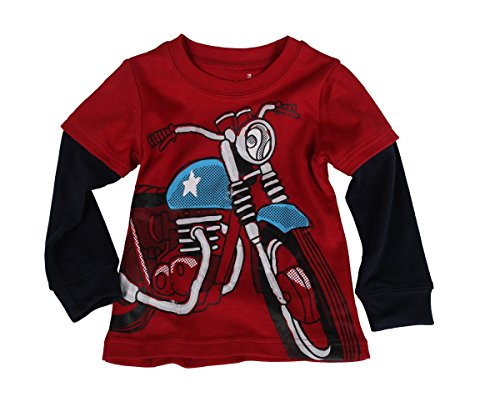 Little Boy Motorcycle Long Sleeved T-Shirt Cotton Clothes 4T