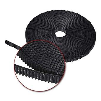 fil en acier PU pour imprimante 3D CNC 6 mm de large Courroie de distribution GT2 en PU avec noyau en acier Noir 5 meters 1 pas de 2 mm