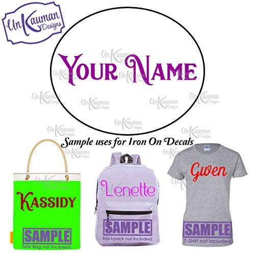 Custom Iron On T Shirt Transfer Personalised Any Name Text Purple Font Dark