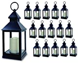 BANBERRY DESIGNS Decorative Lantern - Set of 16-5 Hour Timer - 9 3/8'H Black Lanterns with Flameless Candles Included - Indoor/Outdoor Lantern Set