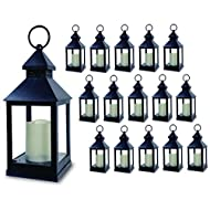 """Decorative Lanterns - Set of 16 - 5 Hour Timer - 11""""H Black Lanterns with Flameless Candles Included - Indoor/Outdoor Lantern Set"""