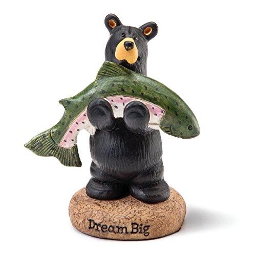 (DEMDACO Jeff Fleming Bearfoots Dream Big Fish Bear Holding Fish Miniature Figurine )