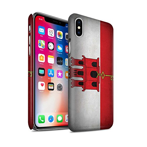 Cases Gibraltar (STUFF4 Matte Hard Back Snap-On Phone Case for Apple iPhone Xs/Gibraltar/Gibraltarian Design/Flags Collection)