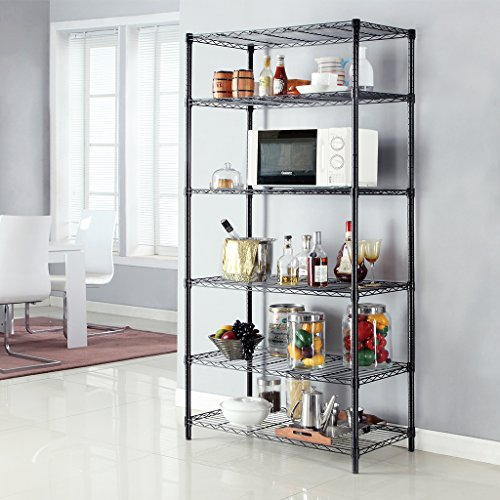 Garage Shelving Units - LANGRIA 6 Tier Garage Shelving Shelving Unit, Storage Rack Garage Shelf Heavy Duty Metal Shelves, Black