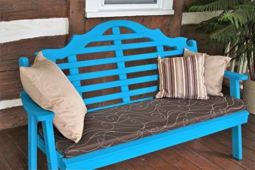 (Aspen Tree Lutyens Outdoor Garden Bench 5' - USA Amish Made - 6 Fun Color Choices (Aruba Blue) )