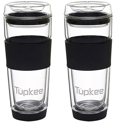 (Tupkee Double Wall Glass Tumbler - All Glass Reusable Insulated Tea/Coffee Mug & Lid, Hand Blown Glass Travel Mug, 14-Ounce, Black )