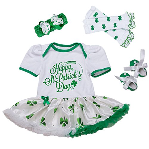 AISHIONY Baby Girl 1st St. Patricks Day Outfit Costume Infant Party Dress 4PCS M (M Party Costumes)