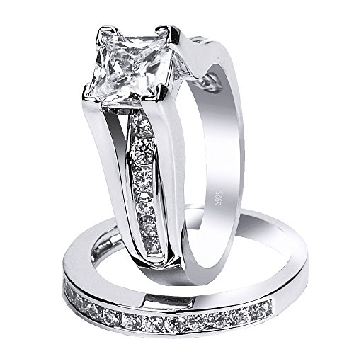 MABELLA Wedding Ring Sets Couples Rings Women's Sterling Silver Princess CZ Men's Stainless Steel Bands by MABELLA (Image #2)