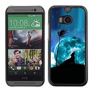 Paccase / SLIM PC / Aliminium Casa Carcasa Funda Case Cover para - Blue Moon Wolf Palm Tree Night Sky Art - HTC One M8