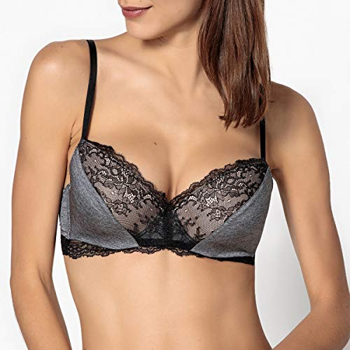 - La Redoute Collections Womens Lace and Microfibre Padded Bra Grey Size US 32C