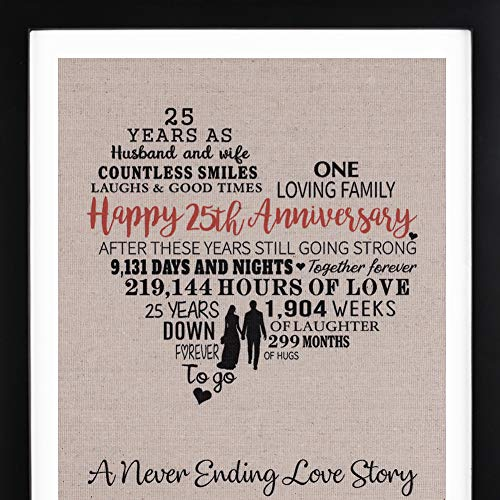 (25th Wedding Anniversary Gift Burlap Print with Frame, 25th Anniversary Gifts for Couple, 25th Anniversary Frame for Husband and Wife)