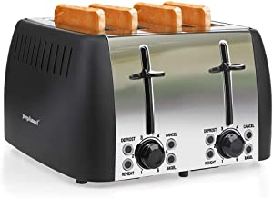 prepAmeal 4 Slice Toaster Stainless Steel Toaster Four Slice Bagel Toaster Small Bake Toaster with 6 Browning Setting, Reheat, Defrost, Bagel, Cancel Function, Extra Wide Slots (Black - 4 Slice)