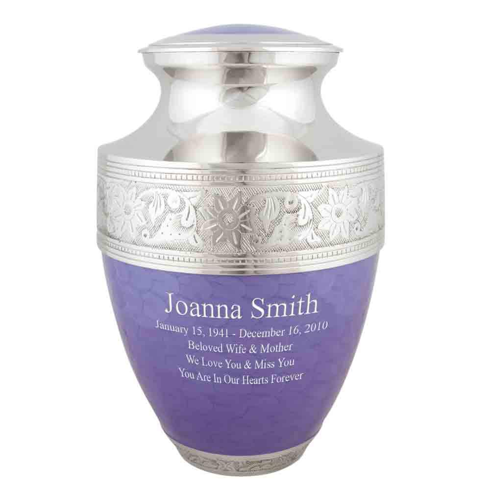 Perfect Memorials Custom Engraved Extra Large Lavender Bloom Cremation Urn