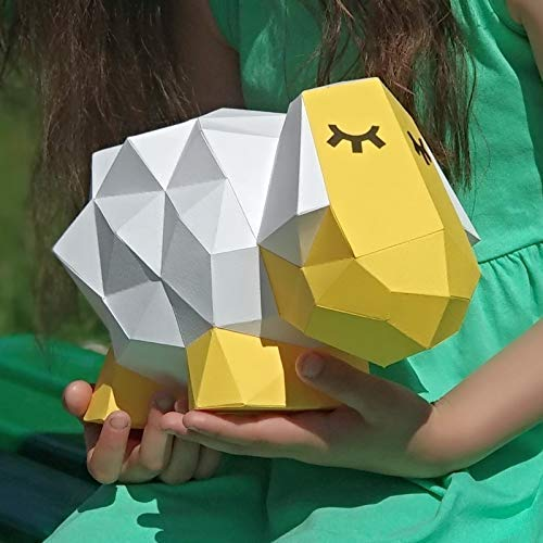 Ideal as DIY Activity Room Decor PAPERRAZ Yellow SHEEP Sculpture 3D Animal Puzzle Craft Kit for Adults /& Teens as 3D Sculpture as Unique Gift Idea Pre-Cut /& Pre-Scored