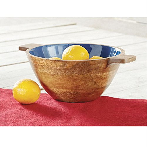 Mud Pie Navy Enamel Wood Bowl