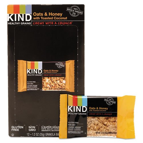 Kind 18080 Healthy Grains Bar, Oats and Honey with Toasted Coconut, 1.2 oz, 12/Box by MOT3