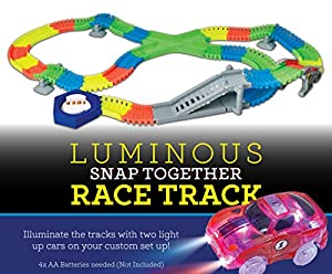 Glow Tracks | Race car tracks | - 225 Flexible Piece set, with Bridge and 2 Flashing LED lights Cars.