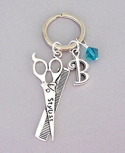 Personalized Hairstylist Key Ring with Initial and Birthstone Color Keychain Unisex Gift