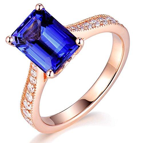 (Beyond jewelry 14K Rose Gold Natural Diamond Engagement Emerald Cut Tanzanite Ring Size 7)