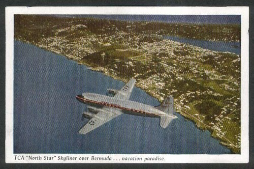 Trans-Canada Airlines TCA North Star Skyliner Bermuda postcard 1950s (Canada Airlines Trans Tca)
