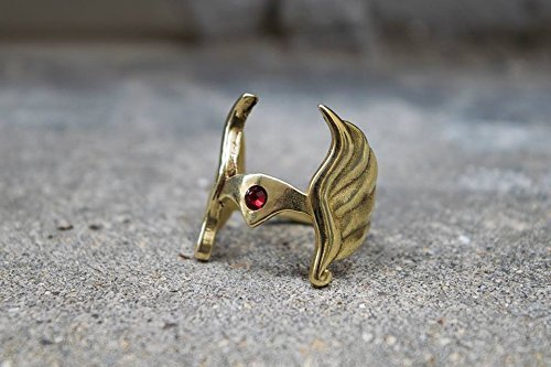 Golden Swarovski Ring - She-Ra, Princess of Power Ring in Golden Brass with Red Swarovski.