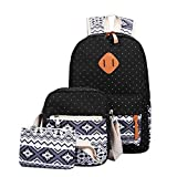 Outsta 3 Sets Women Girl Canvas Shoulder School Bag, Backpack+Crossbody Tote Bag+Clutch Purse Shoulder Handbag Casual Daypack Travel (Black)