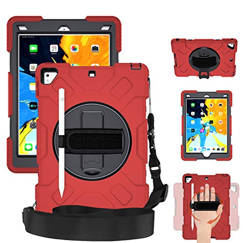 SUPFIVES STOCK iPad 9.7 Case, Heavy Duty Protective 360 Rotatable Stand Adjustable Shoulder Strap Shockproof Case with Pencil Holder & Hand Strap for iPad 6th/5th Generation air 2 pro 9.7 (Black+Red)