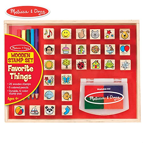 Melissa & Doug Wooden Favorite Things Stamp Set (Arts & Crafts, Sturdy Wooden Storage Box, Washable Ink, 26 Pieces, 10.45