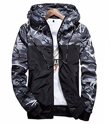 (Showlovein Floral Bomber Jacket Men Hip Hop Slim Fit Flowers Bomber Jacket Coat Men's Hooded Jackets Grey)