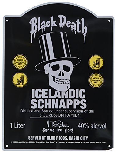 (Dark Horse Deluxe Sin City Movie Tin Sign: Black Death Icelandic Schnapps)