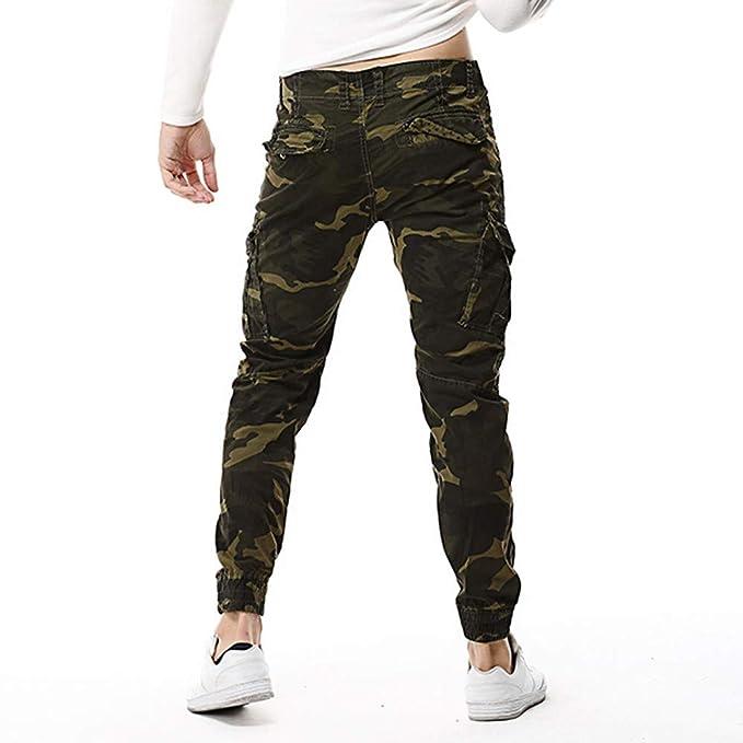 YanHoo Pantalones de Hombre Pantalones Sueltos de algodón al Aire Libre para Hombres Pantalón Largo de Camuflaje al Aire Libre de algodón multibolsillo para ...