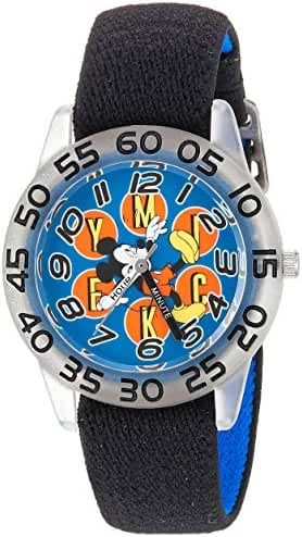Disney Boy's 'Mickey Mouse' Quartz Plastic and Nylon Casual Watch, Color:Black (Model: WDS000110)