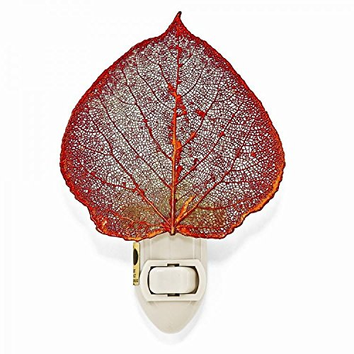Iridescent Night Lights Copper - The Rose Lady Iridescent Copper or 14kt Gold Dipped Real Aspen Leaf Nightlight -Made in USA (Copper)