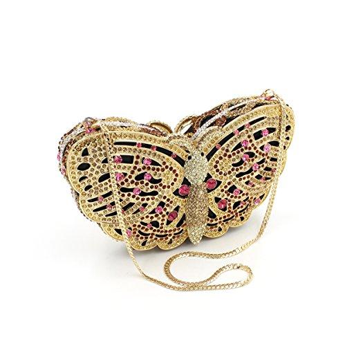 Las mujeres Bolsa de noche de lujo Mariposa Rhinestones señoras favorito Art Bolso Boda monedero del embrague bastidor metálico