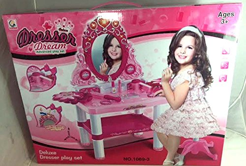 Toy Dressing Table Mirror Vanity Set for Kids Girls w/Light Music (Toy Blow Dryer, Butterfly Wand,Jewelry, Make-Up Accessories)