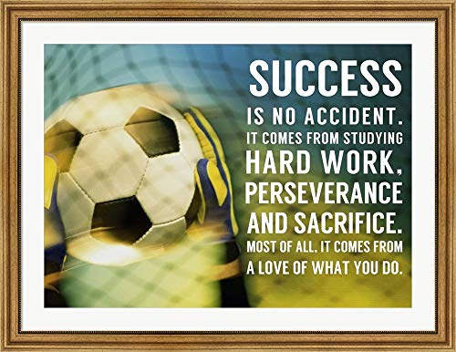 Success Soccer Quote by Sports Mania Framed Art Print Wall Picture, Wide Gold Frame, 43 x 33 inches