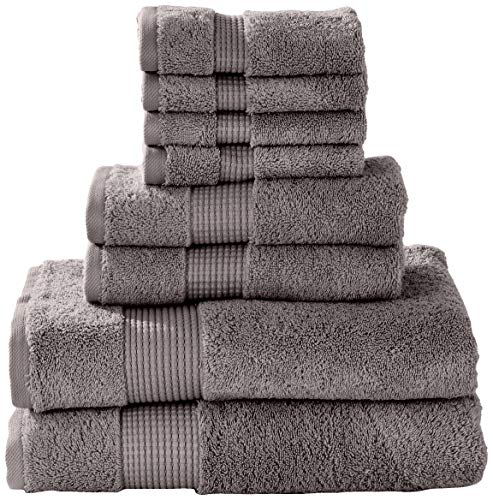 - Manor Ridge Turkish Cotton 700 GSM 8 Piece Set, Super Soft, Heavy Weight & Absorbent 2 Bath, 2 Hand Towels and 4 Washcloths, Charcoal