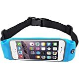 BOGZON Exercise, Running Waist Pack for 4.7 Inch Screen Cellphone - Outdoor Belt Bag - Touch Operating Directly With Transparent Film, Blue Color