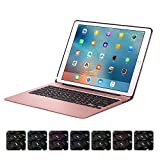 XFUNY iPad Keyboard Case for iPad Pro 12.9 Wireless Bluetooth 7 Colors LED Backlit iPad Keyboard with Aluminium Alloy Protective Case Cover Support Auto Wake / Sleep For iPad Pro 12.9 (Rose Gold)