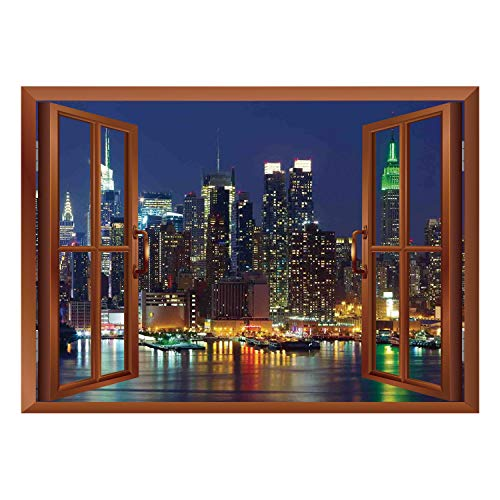 (SCOCICI Wall Mural, Removable Sticker, Home Décor/New York,NYC Midtown Skyline in Evening Skyscrapers Amazing Metropolis City States Photo,Royal Blue/Wall Sticker)