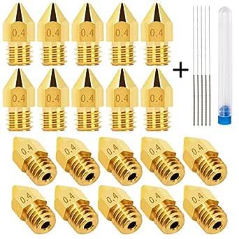 LUTER 20 UNIDS 0.4mm 3D Impresora Boquilla MK8 Extrusor Nozzle + 5 ...