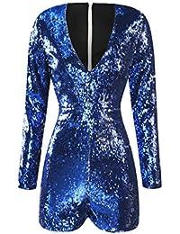 Women Mardi Gras's Sparkly Sequin V Neck Party Clubwear Romper Jumpsuit