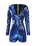 HaoDuoYi Women's New Year's Sparkly Sequin V Neck Party Clubwear Romper Jumpsuit(S,Blue)
