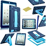 Fulland Hybrid Heavy Duty Hard Plastic/Soft Silicone Case with Stand for Apple Ipad 2, 3 4 plus bonus Stylus Pen and Screen Protector -Light Blue/Blue