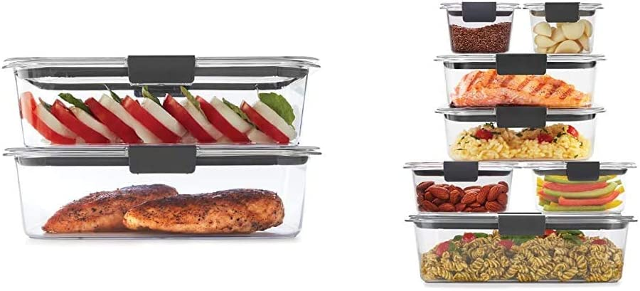 Rubbermaid Leak-Proof Brilliance Food Storage Set | 9.6 Cup Plastic Containers with Lids | Microwave and Dishwasher Safe, 2-Pack, Clear & Brilliance Storage 14-Piece Plastic Lids, Clear