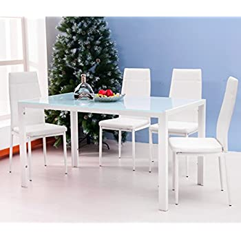 merax 5pc glass top dining set 4 person dining table and chairs set kitchen modern furniture dining dinette white - Table And Chair Sets Kitchen