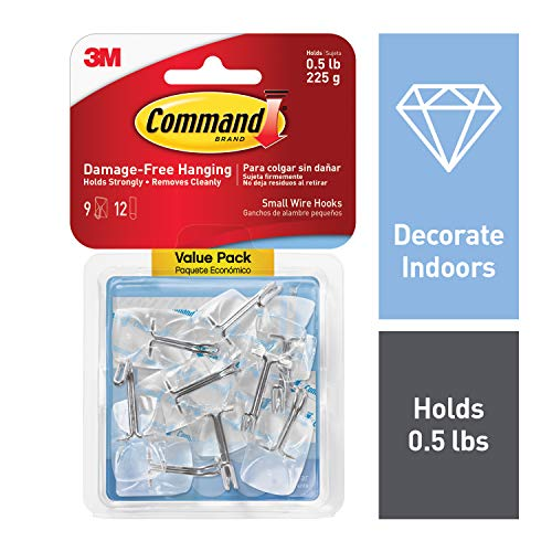 Command Wire Hooks, Small, Clear, 9-Hook, 4-Pack (36 Hooks Total)